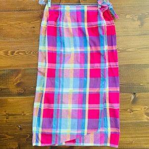 Susan Bristol Plaid Wrap Maxi Skirt